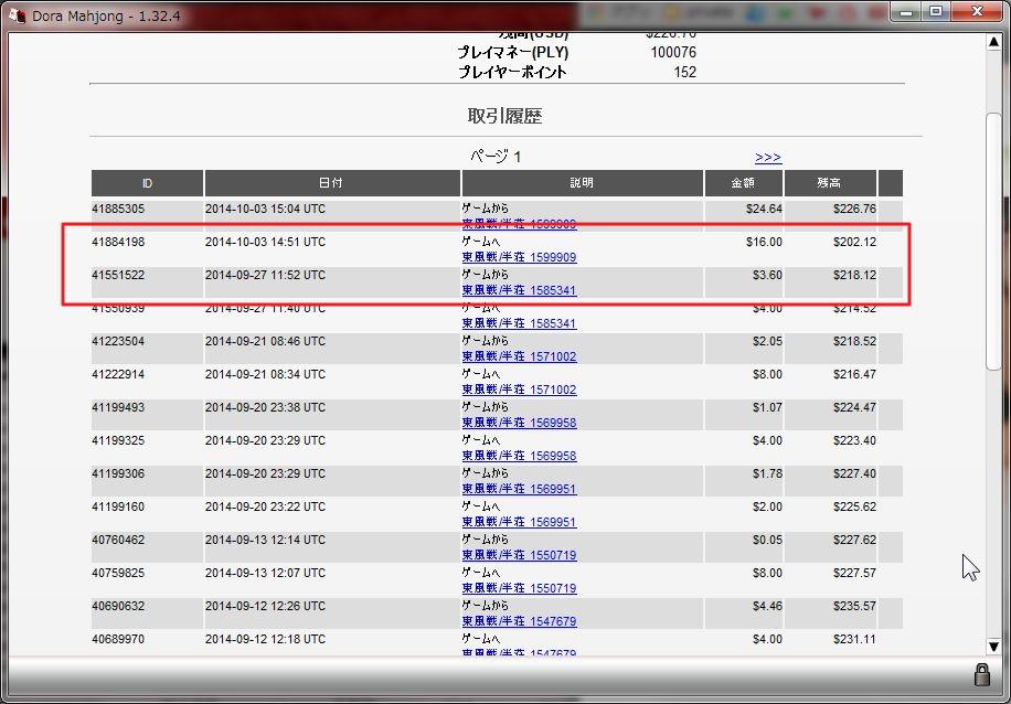 DORA麻雀2014年9月収支