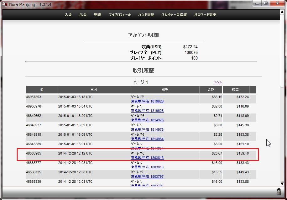 2014.12月DORA麻雀収支